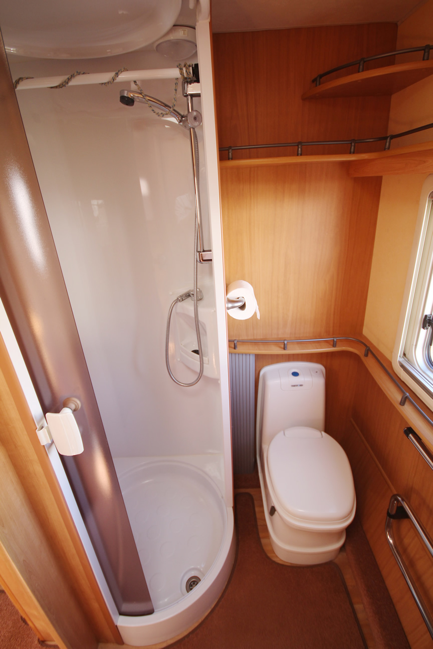Kina Campers 11 2 berth Ace Award Brightstar end bathroom